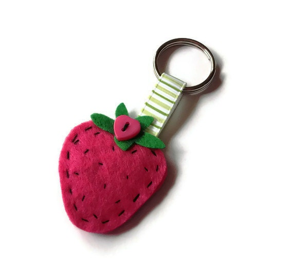 Pink Strawberry Keyring: berry keyring / keychain, pink felt with ribbon and heart button
