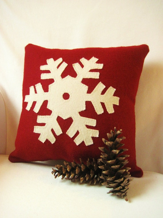 Winter Snowflake Pillow Decorative Winter Pillow Red