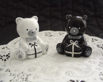 Black and White Bears - Miniature Cement Statue Figurine - Indoor Outdoor Decoration - Free Shipping