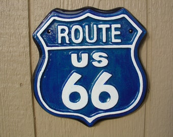 ROUTE US 66 - Cement Plaque - Indoor Outdoor Decoration - Garden, Party, Garage, Nostalgic, Free Shipping