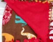 Baby Blanket Fleece Hand Tied Elephant Parade