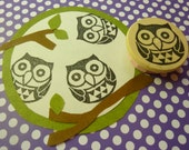 Owl Rubber Stamp Hand Carved