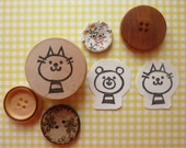 Cat Rubber Stamp Hand Carved