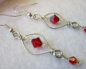 Free Shipping - Red Crystal Earrings
