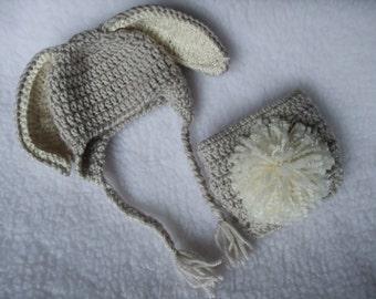 Custom Order -crochet Newborn bunny hat and diaper cover set - Photo prop - Easter Rabbit
