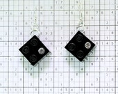 Black Earrings made with LEGO (R) and Swarovski Crystal