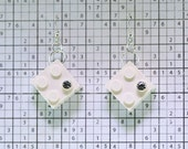 White Earrings made with LEGO (R) and Swarovski Crystal