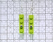 Lime Green Earrings made with LEGO (R) and Swarovski Crystal