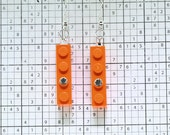 Orange Earrings made with LEGO (R) and Swarovski Crystal