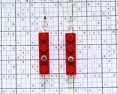 Red Earrings made with LEGO (R) and Swarovski Crystal