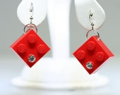 Red Earrings made  with LEGO (R) and Swarovski Crystals
