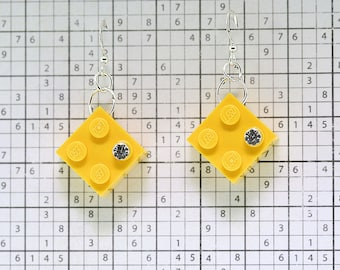 Yellow Earrings made with LEGO (R) and Swarovski Crystal
