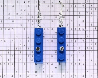 Blue Earrings made with LEGO (R) and Swarovski Crystal