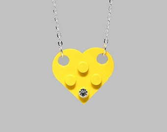 Yellow Heart Pendant Necklace made with LEGO (R) and Swarovski crystal