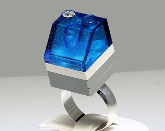 Frosted Blue Ring made with LEGO (R) and  Swarovski crystal
