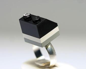Black Angle Ring made LEGO® and Swarovski crystal