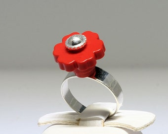 Red Ring with Silver Center made with LEGO (R)