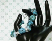 Turquiose color nugget stone and silver bead bracelet