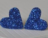 Heart Shaped Dark Blue Glitter Post Stud Earrings