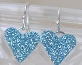 Heart Shaped Light Ice Blue Glitter Drop Earrings