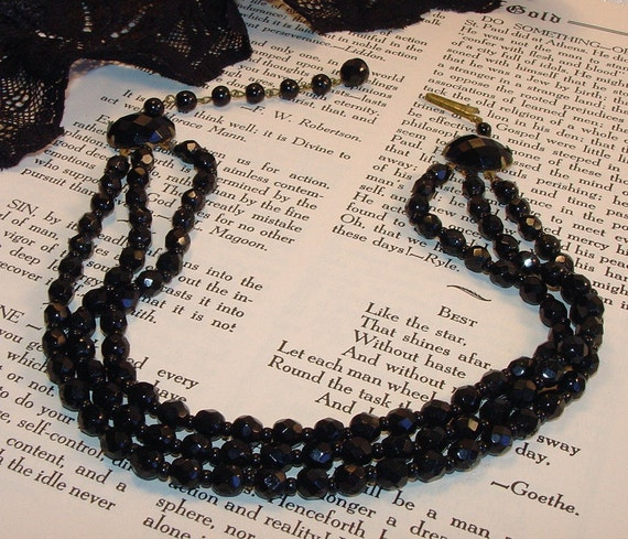Antique German Black Glass Brass Beaded Necklace