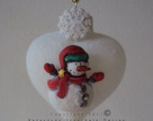 Handmade heart shaped ornament great Christmas gift.