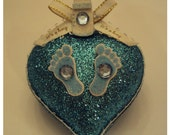 Handmade Heart Shape Baby Ornament Great For Christmas, Birthday,Baby Shower,New Baby Boy.