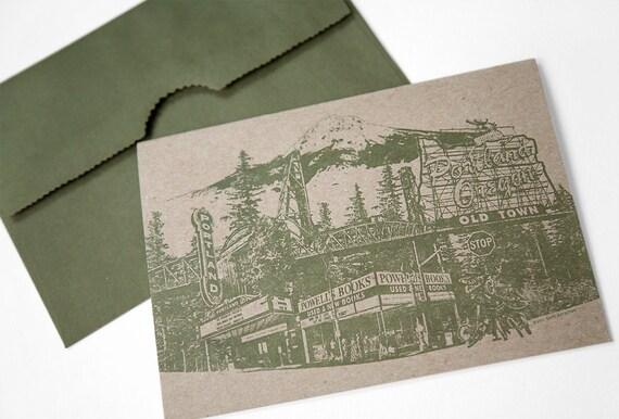 Portland Notecard // Greeting Card // Oregon Note Card // Collage // Portland Pride // 5x7 Single Card