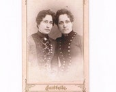Old Vintage Photograph of Two 1880's Victorian Sisters