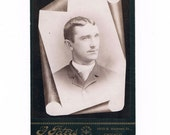 Memorial Cabinet Card Photograph of an 1880's Man, Chicago Illinois