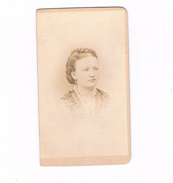 Late 1870's Woman with Braided Hair Carte De Visite Photograph, cdv