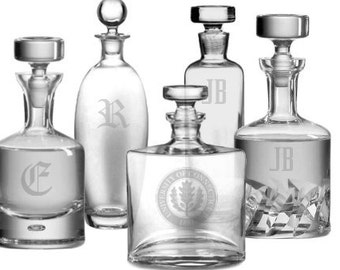 Personalized Engraved Crystal Decanters - Groomsman Gifts