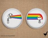 Cross stitch pattern: Rage Face - Puke Rainbows (2 patterns)