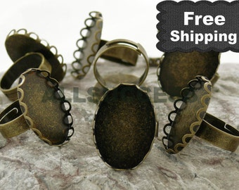 50pcs Antique Bronze Adjustable Ring Bases,blank setting With inside diameter 18x25 mm Bases,Lacework Oval Base,FREE SHIPPING