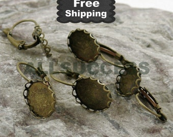 50pcs Antiqued brass leverback earwire with lacework oval cabochon base14x10mm,earring findings,finding