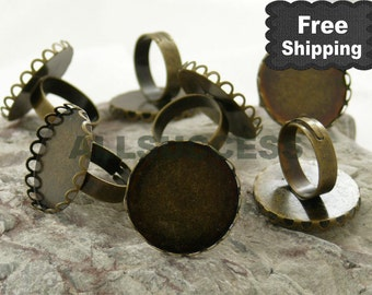 20pcs Antique Bronze Adjustable Ring Bases,blank setting With inside diameter 25mm Bases,Lacework Round Base,FREE SHIPPING