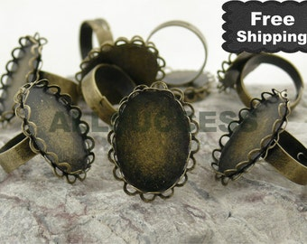 FREE SHIPPING---50pcs Antique Bronze Adjustable Ring Bases,blank setting With inside diameter 18x25 mm Bases,Lacework Oval Base