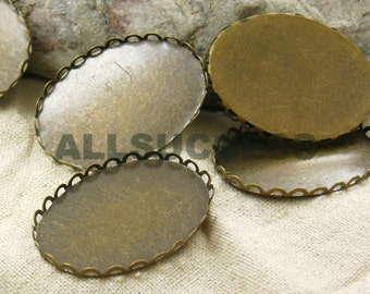 FREE SHIPPING--60pcs Antique Bronze Pendant Bases,blank setting With Inside Diameter 30x40mm Bases,Oval Pendant Base Findings