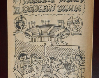 Vintage Rolling Stones 1981 Tour Concert Comix, rare newsprint Rolling Stones concert giveaway from San Diego, FREE SHIPPING