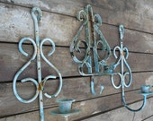 Rusty Candle Sconces - Set of Three - Primative Shabby Chic