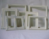 Frame Set -7 Hand Painted Beach Cottage Shabby Chic Creamy White