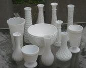Milk Glass Vase Set - 12 ALL DIFFERENT - Shabby Chic - Wedding, Bridal Shower, Party Decoration - Free Shipping to US
