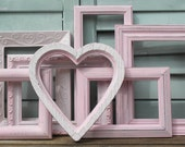 Frame Set - 7 Hand Painted Pink Cottage  Shabby Chic Frames