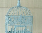 Vintage Decorative Bird Cage Hand Painted Robin's Egg Blue with White Wash