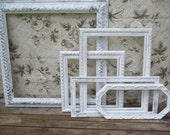 Frame Set - 5 Hand Painted Beach Cottage White Shabby Chic