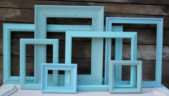 7 Frame Set - Hand Painted Beach Cottage Shabby Chic
