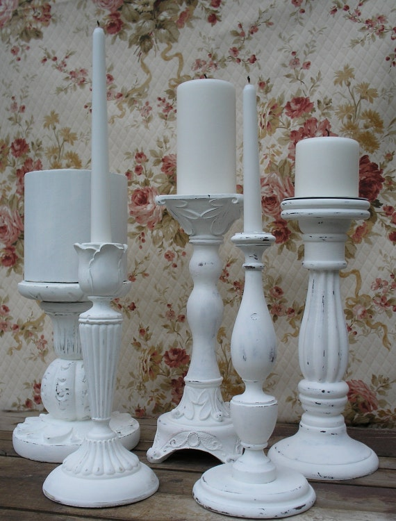 Candle Holder Set of 5  Beach Cottage Shabby Chic - Wedding Decor
