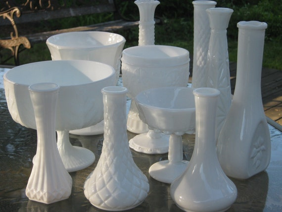 Milk Glass Vase Set - 11 ALL DIFFERENT - Shabby Chic - Wedding, Bridal Shower, Party Decoration - Free Shipping to US