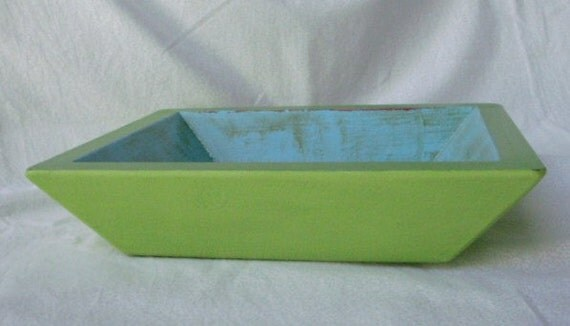Funky Wood Bowl Handpainted Lime and Foliage Green with Bahama Blue