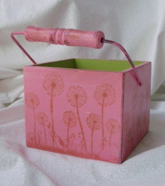 Funky Wood Basket Hand Painted Bubble Gum Pink with Handle - Hand Stamped